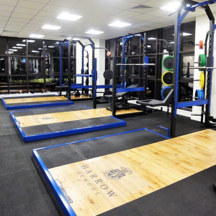 Full Racks with Weights and platforms and flooring at Harrow School