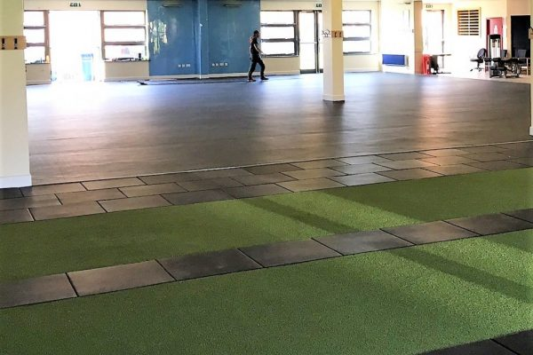 Mixed fitness and functional flooring installation, speed and agility turf, ultra tiles and everlast roll