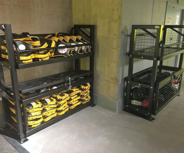 Fitness storage bins and locker units