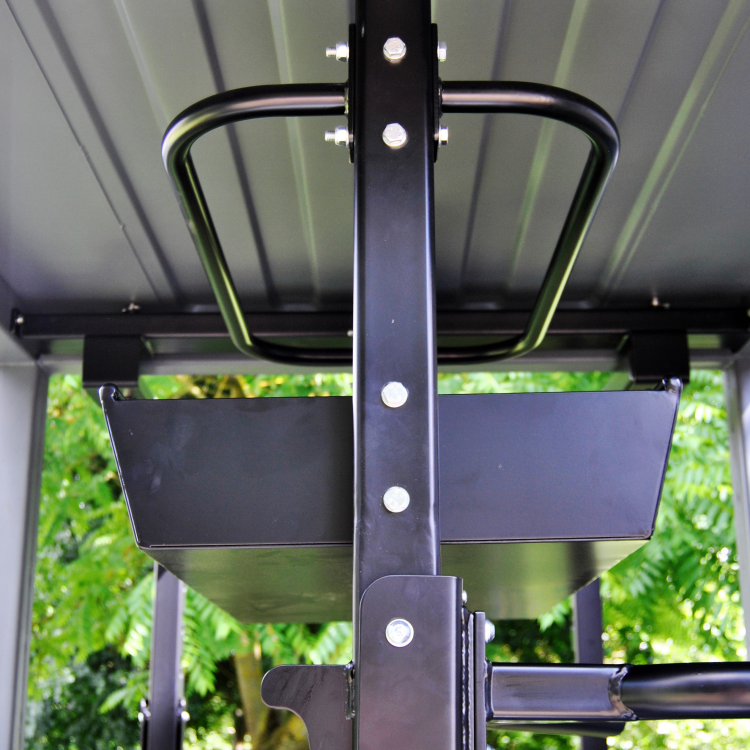 MFU close up on ball rack and storage bin